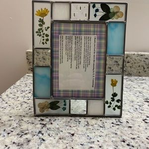 Pressed flower leaded glass picture frame